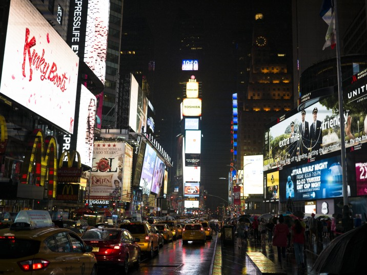 2WN in Times Square New York City Night Time Neon Light Display