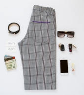 2WN Glen Check Charles hands free functional women's pants. Featuring deep functional pockets
